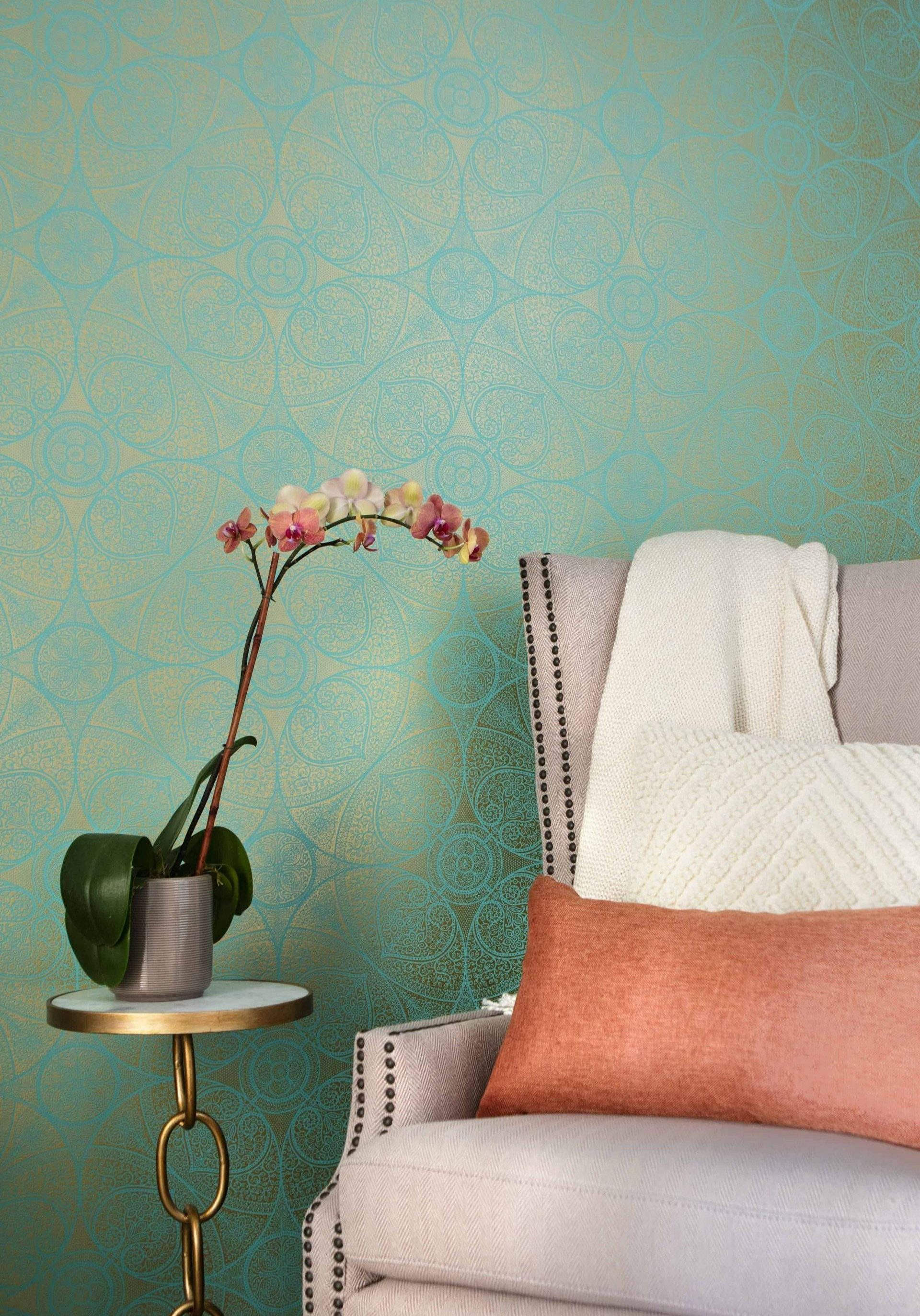 Home Interior Design, Green and Gold Wallpaper with Pink Chair, Etch Interior Design, Austin, Texas
