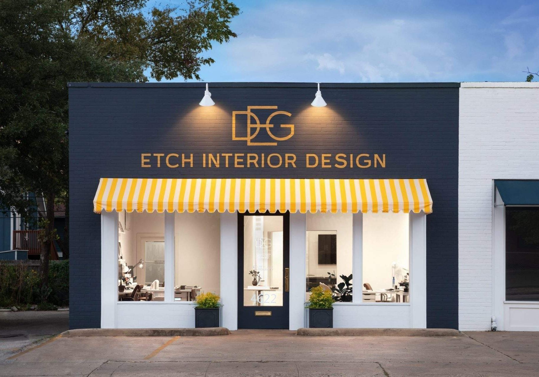 design austin   etch interior design exterior of office with lights front view   austin, texas