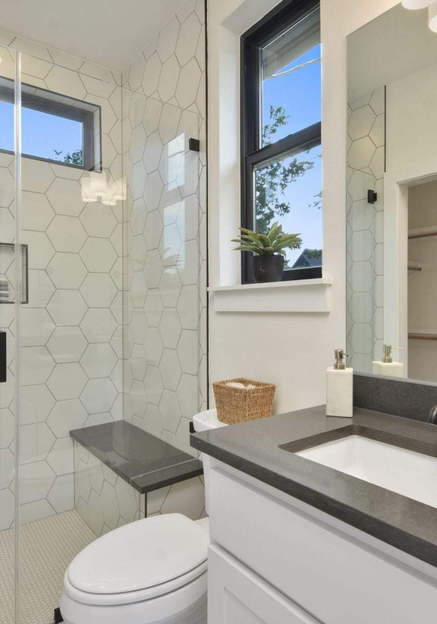 Bathroom Interior Design, White hexagon tiles in shower, Etch Interior Design, Austin, Texas