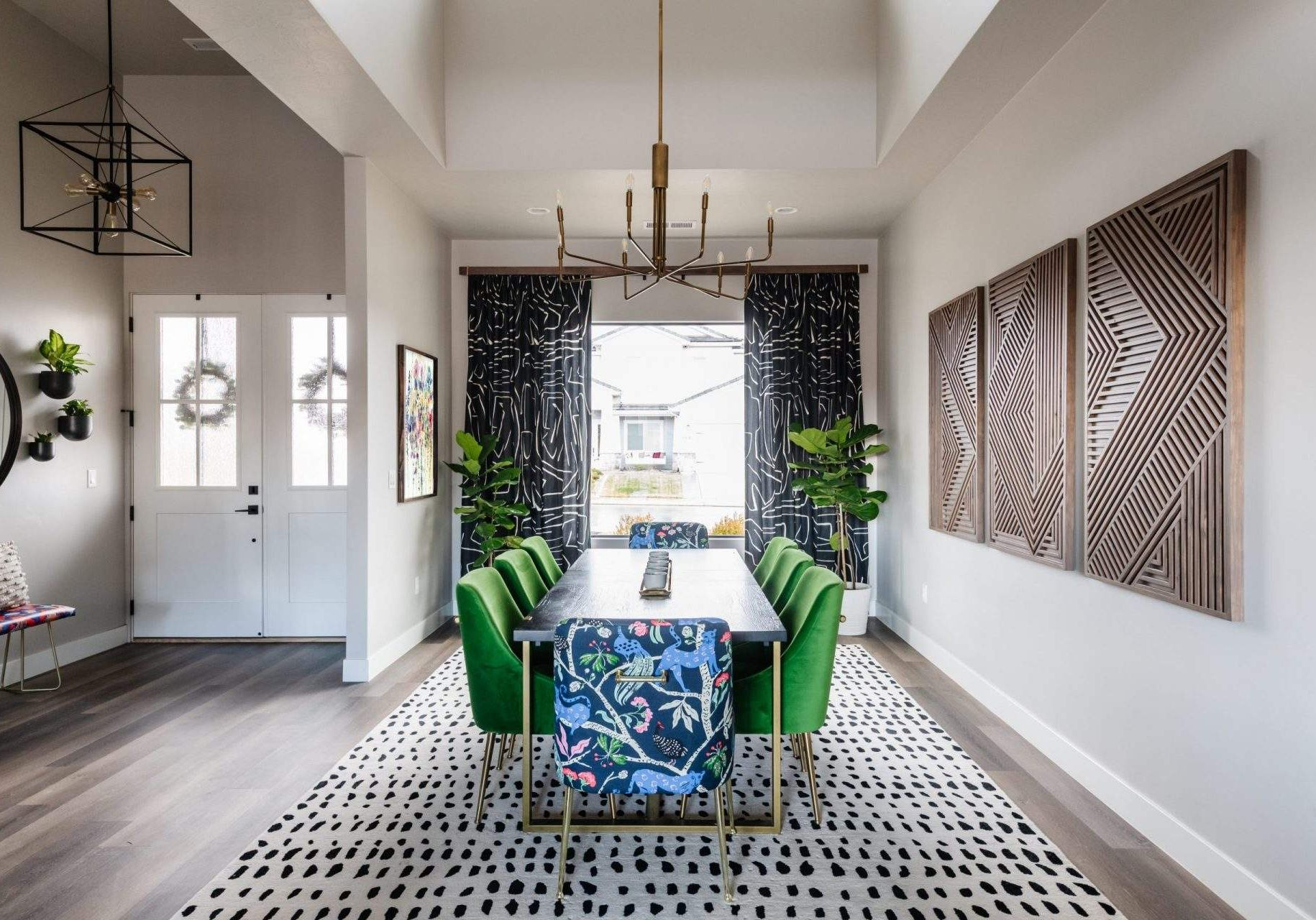 Home Interior Design, Dining Room with Green Upholstered Chairs, Etch Interior Design, Austin, Texas