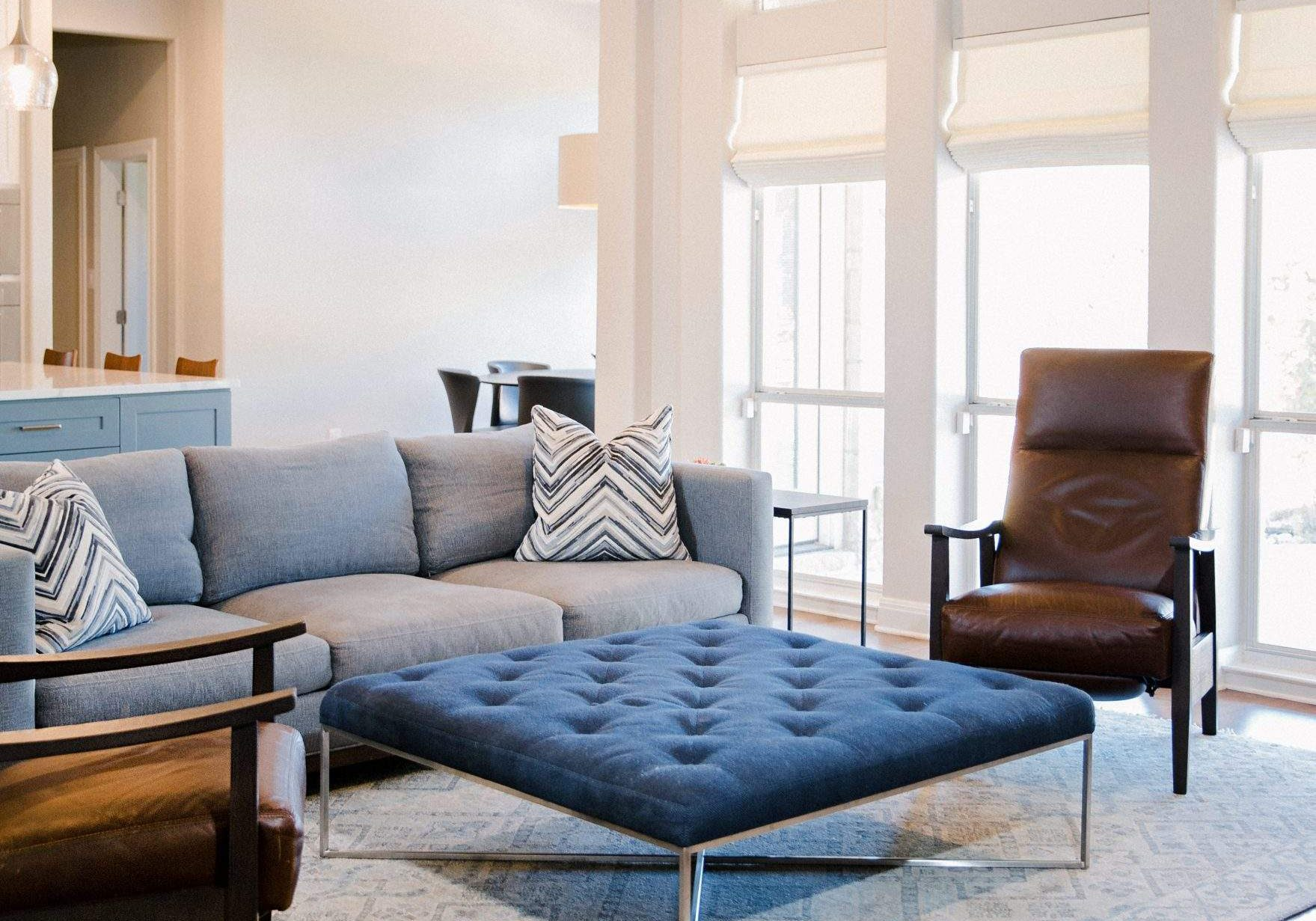 Living Room Interior Design, Sofa, Chairs, and Blue Upholstered Coffee Table, Etch Interior Design, Austin, Texas